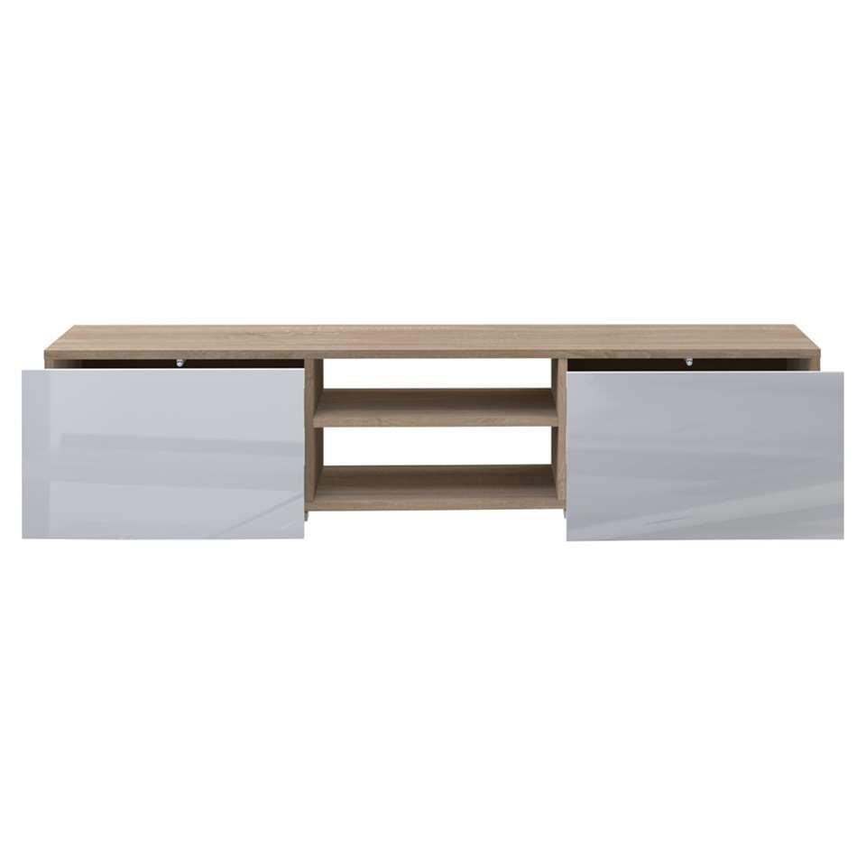 Tv Escamotable Dans Meuble symbiosis meuble tv borhaug - blanc/couleur chêne - 31x140x42 cm