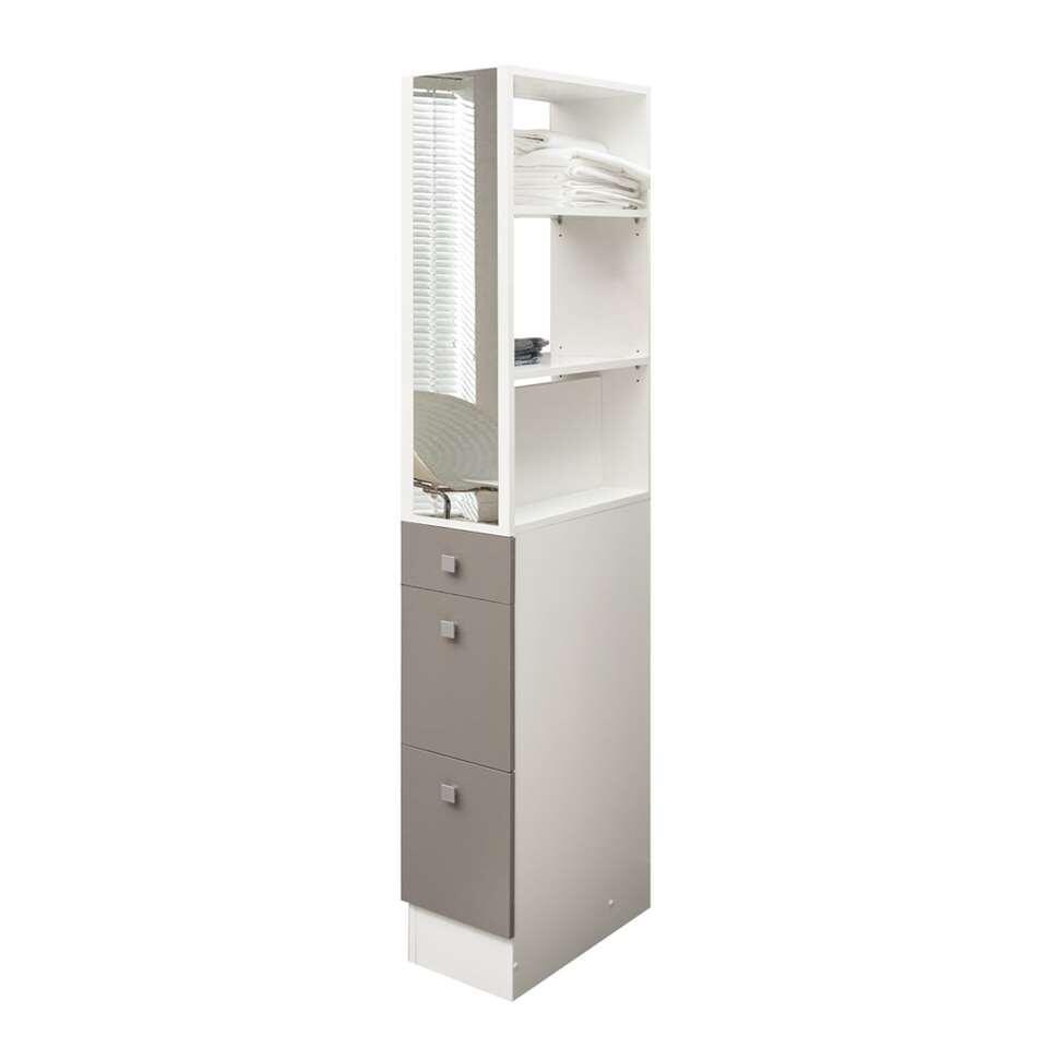 Symbiosis elément de séparation Munkebo pour rangement de salle de bains - blanc/taupe - 180x24,3x50,5 cm
