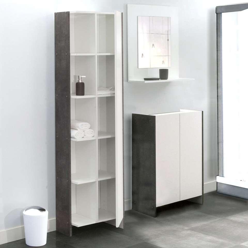 symbiosis rangement de salle de bains hokksund blanc gris b ton. Black Bedroom Furniture Sets. Home Design Ideas