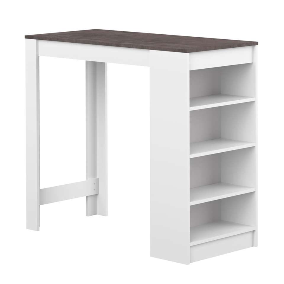 Symbiosis table de salle à manger Skolding - blanche/gris béton ...