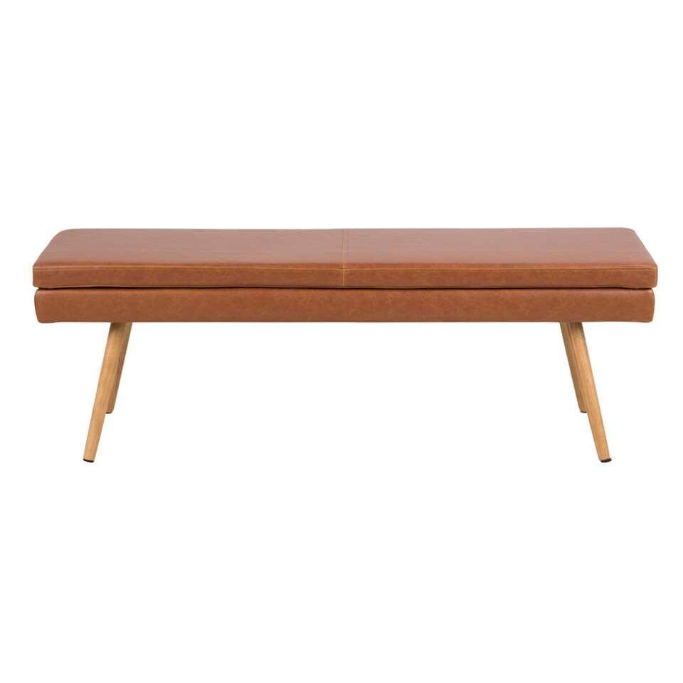 Le banc Uppsala est saisissant! La base et le coussin du siège ont tous les deux bénéficié d'un look en cuir dans un ton chaud couleur cognac.