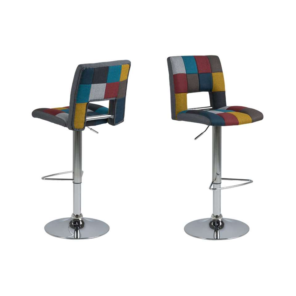 Tabouret de bar Husas - multicolore/chrome (2 pièces)