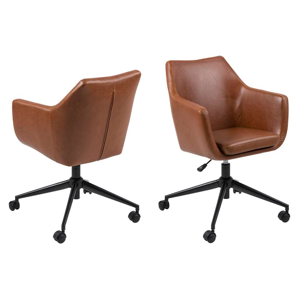 La chaise de bureau Uppsala est recouverte de cuir artificiel couleur cognac et est très confortable. Le siège est réglable en hauteur. Prix la pièce!