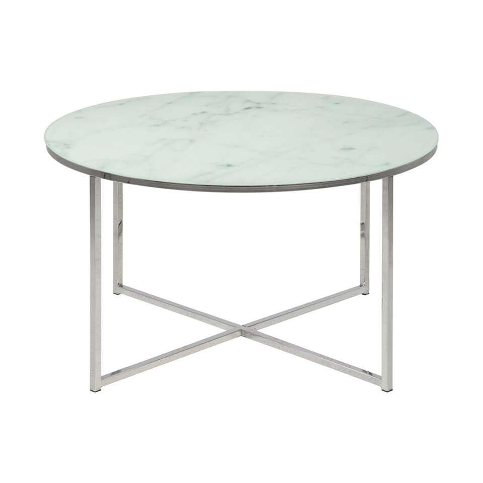 La table de salon Ostana est une table moderne avec une jolie forme arrondie. Cette table de salon est fabriquée à partir de verre et a un élégant look de marbre. Tout à fait dans l'air du temps!