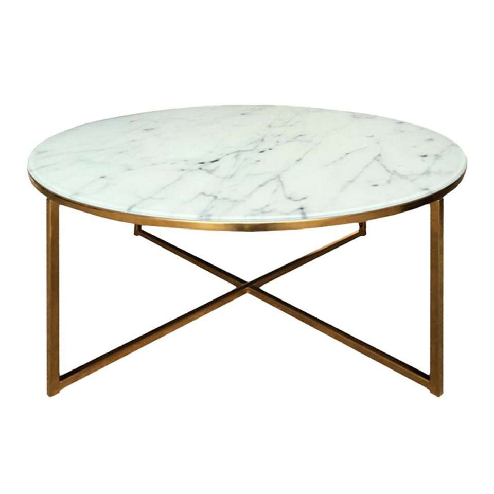 Table de salon Ostana - blanche/couleur bronze - Ø80x45 cm