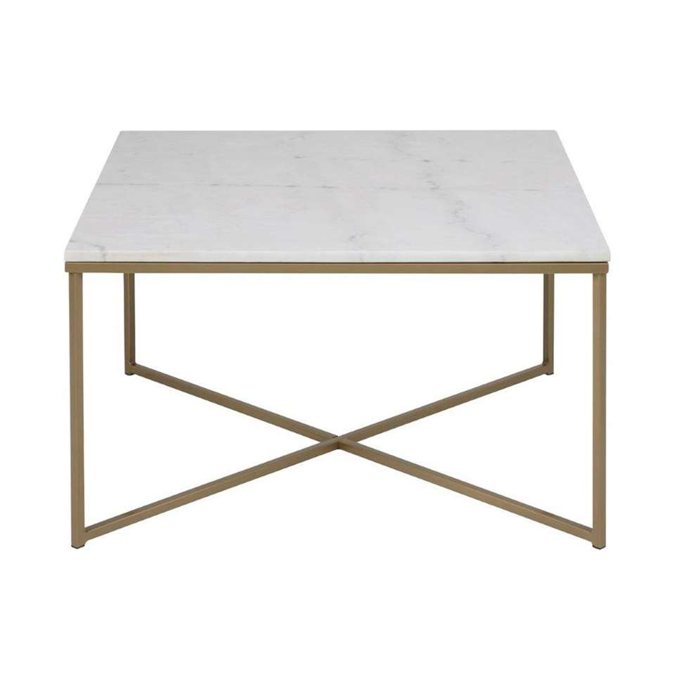 table de salon ostana blanche couleur bronze 80x80x46 cm. Black Bedroom Furniture Sets. Home Design Ideas