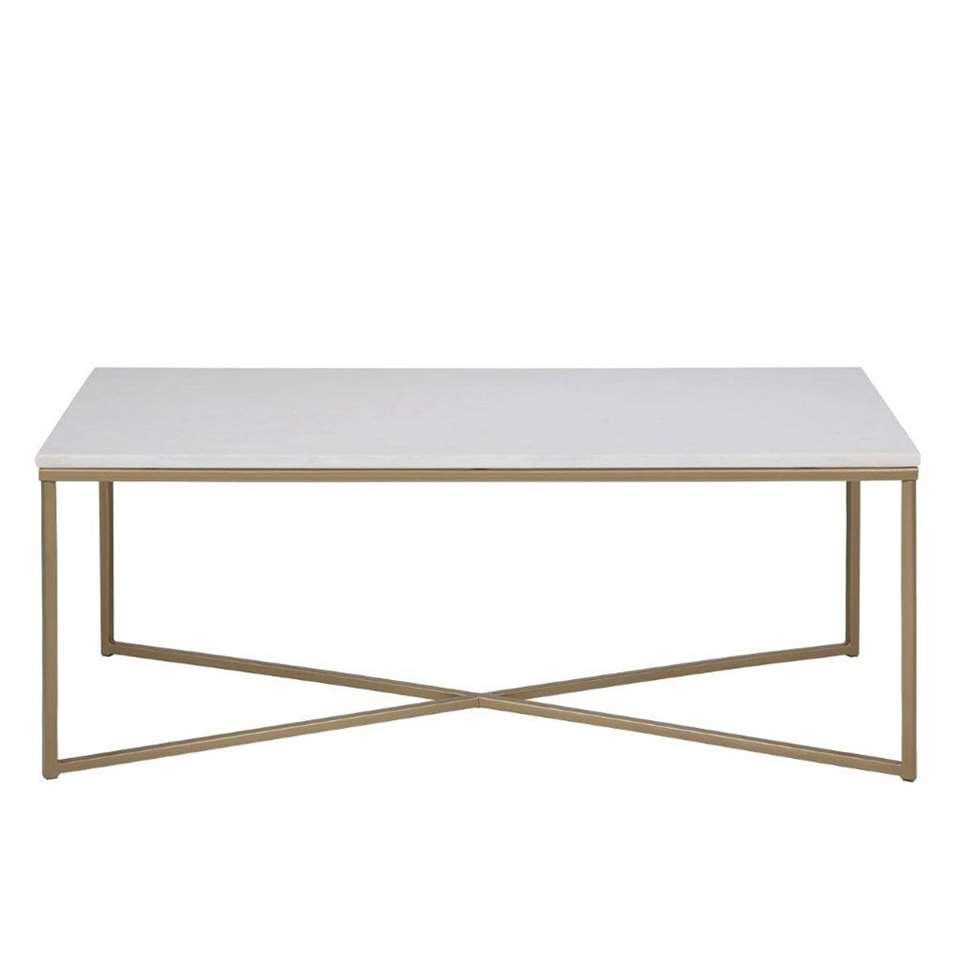 Table de salon Ostana - blanche/couleur bronze - 120x60 cm
