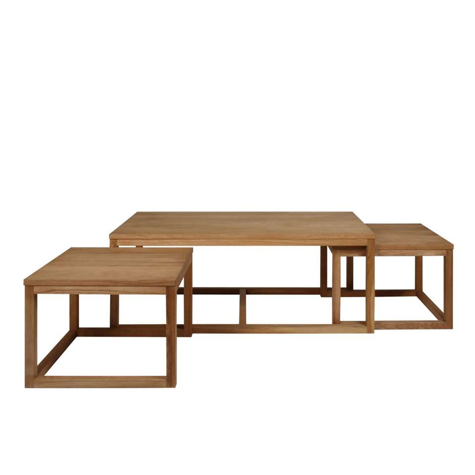 Salontafelset Hanestad is een handige set van drie salontafels. Deze tafels hebben een mooie eikenkleur en zijn gemaakt van hoogwaardig MDF.