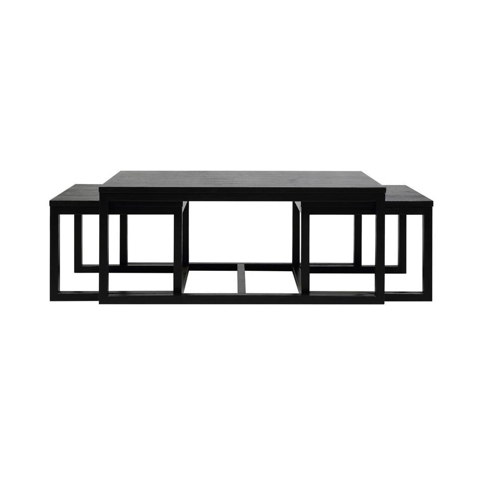 L'ensemble de table de salon Hanestad est un ensemble pratique de trois tables de salon. Ces tables ont une jolie couleur de chêne noire et sont fabriquées à partir de MDF de grande qualité.