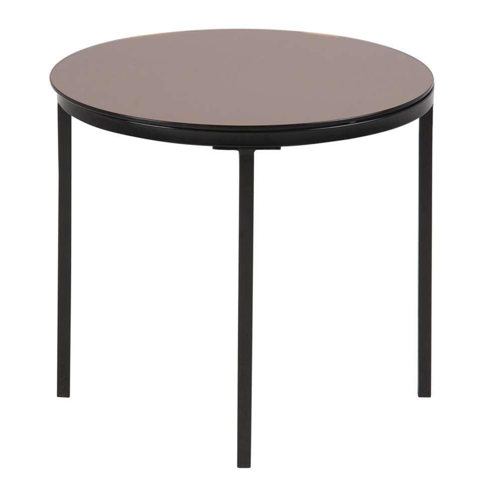 La table de chevet Fevik est une table moderne disposant d'un support noir solide et d'un dessus de table en verre de couleur bronze.