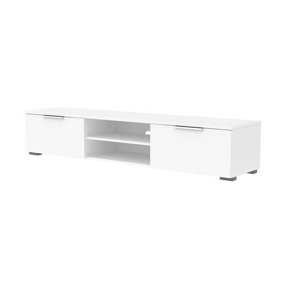 Meuble TV Uldum - blanc brillant - 33,1x172,7x39,9 cm