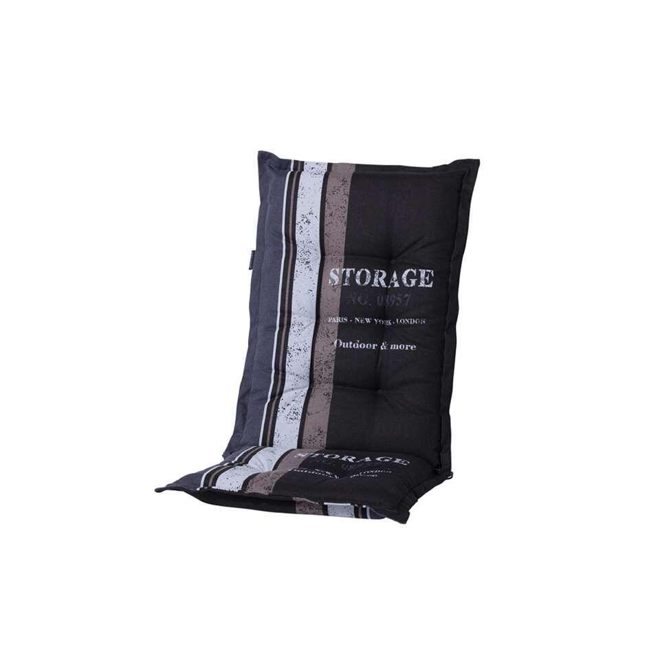 Madison terrasstoelkussen Storage - zwart - 125x50x7 cm - Leen Bakker