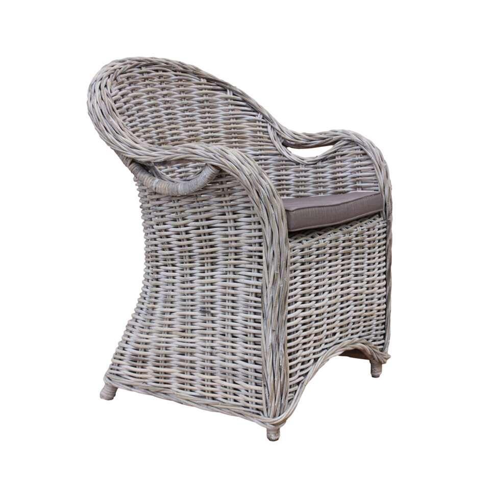 HSM Collection chaise de salle à manger Parma - blanc patiné/moka