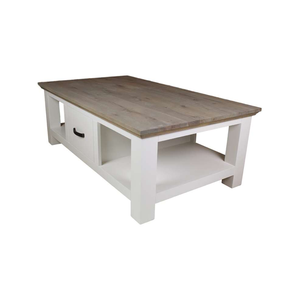HSM Collection salontafel Provence - grijs eiken/wit - 130x75x45 cm