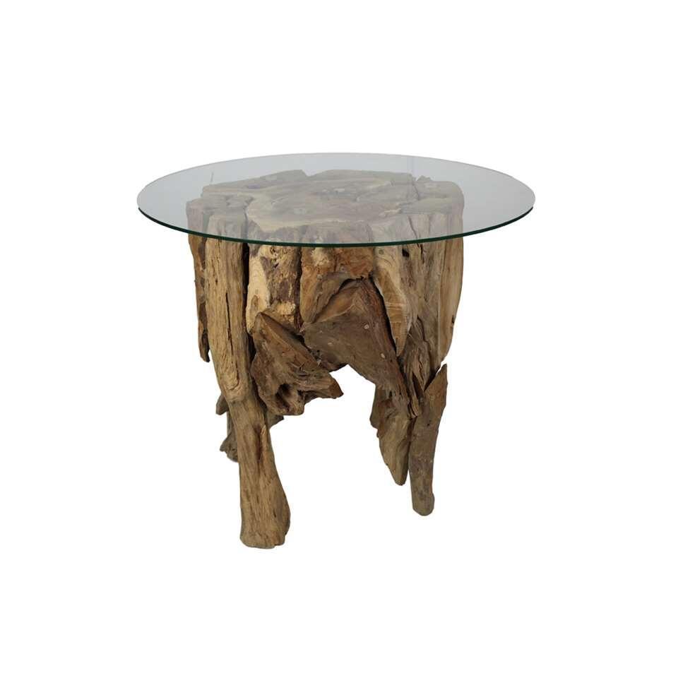 hsm collection table basse ronde naturel verre. Black Bedroom Furniture Sets. Home Design Ideas