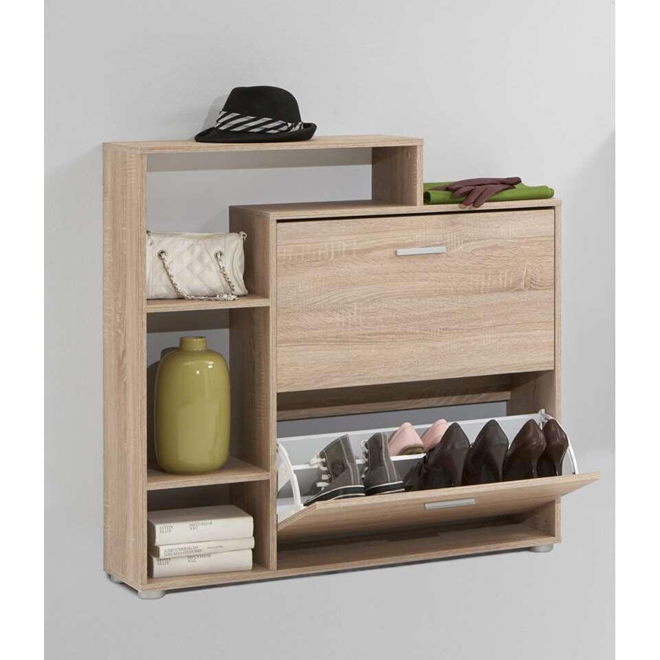 Schoenenkast Penny biedt je veel opbergruimte voor al je schoenen. De kast is heel praktisch en heeft een spiegel en een deur.