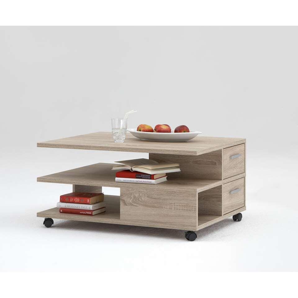 Bijzettafel Pia is makkelijk overal bij te zetten. Dit tafeltje heeft 2 laden een grote en kleine en een open vak.