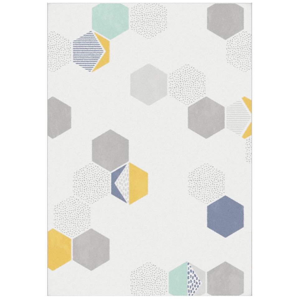 Tapijt Avenza in crème uitvoering heeft een trendy dessin met verfrissende kleuren. Dit tapijt heeft een wollige look en een afmeting van 160x230 cm.