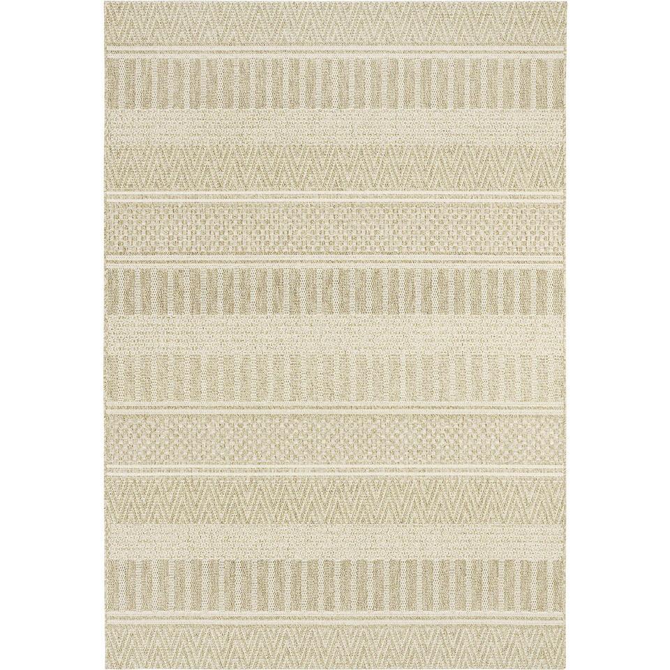 Tapijt Lugo beige is een vlakgeweven binnen-/buitentapijt met patronen in natuurlijke kleuren die zorgen voor een tijdloze look. Het tapijt heeft een afmeting van 120x170 cm.