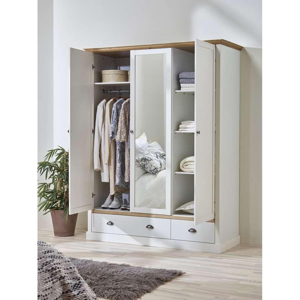 armoire linge sandringham 3 portes blanc 192x148x58 cm. Black Bedroom Furniture Sets. Home Design Ideas