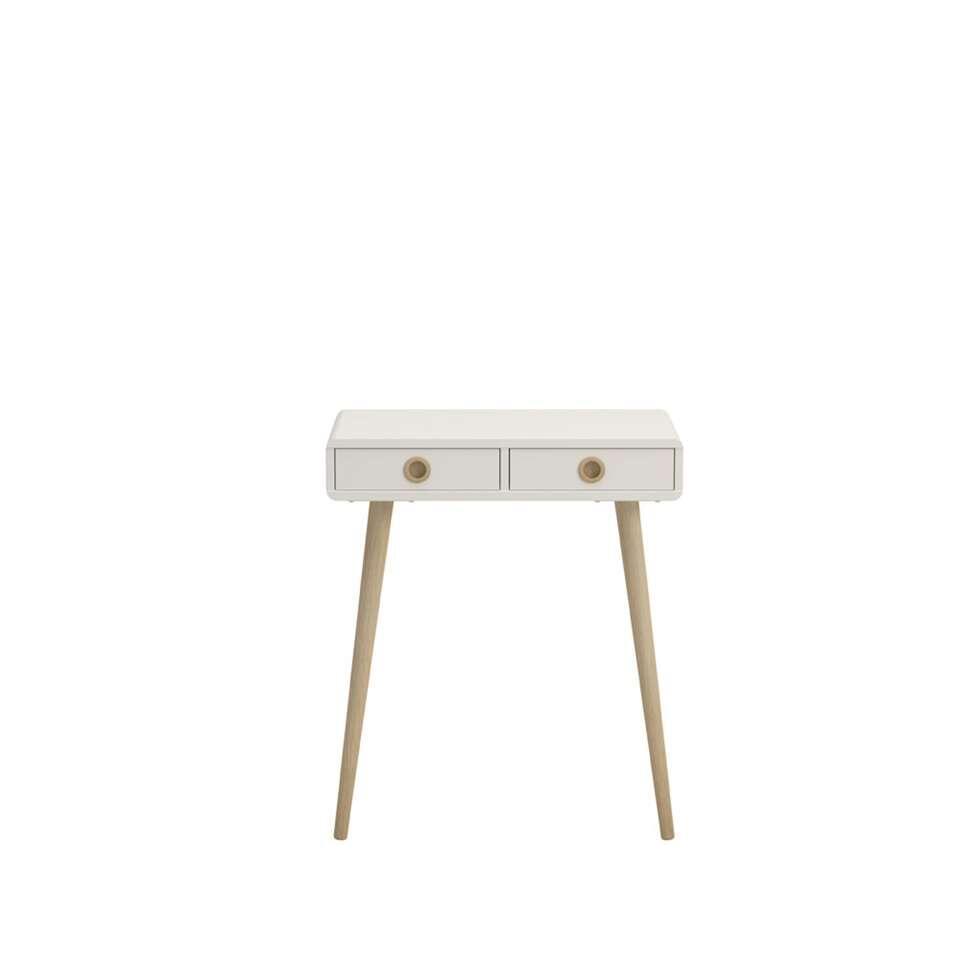 Sidetable Soft Line is een modern tafeltje in een witte kleur. Deze haltafel heeft een Scandinavische uitstraling, dit is te zien aan de slanke houten pootjes en de eenvoudige stijl maar perfecte afwerking.