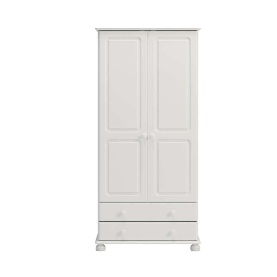 armoire linge richmond 2 portes 2 tiroirs blanc 185 1x88 2x57 cm. Black Bedroom Furniture Sets. Home Design Ideas