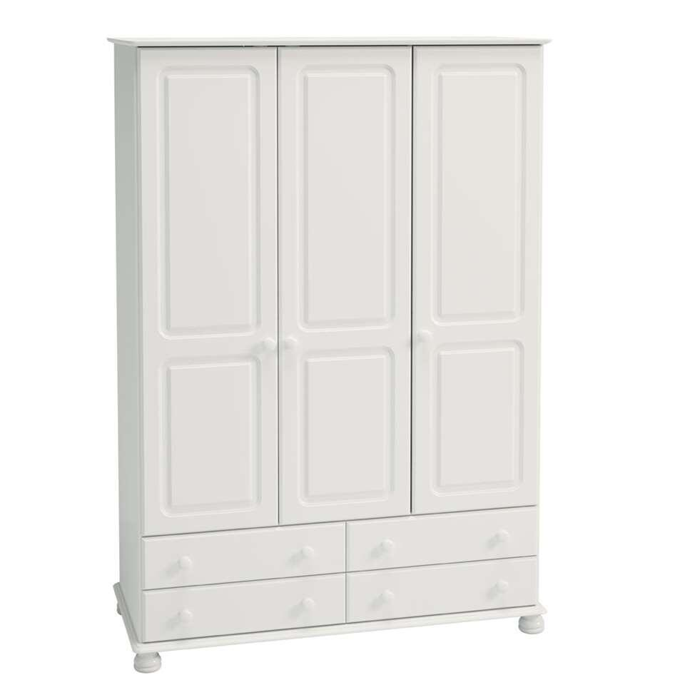armoire linge richmond 3 portes blanc 185 1x129 4x57 cm. Black Bedroom Furniture Sets. Home Design Ideas