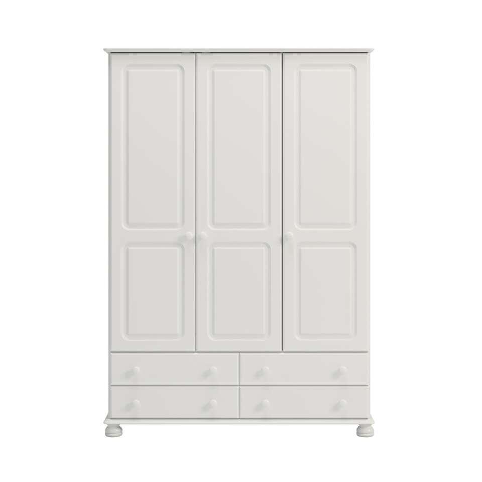 armoire linge richmond 3 portes blanc 185 1x129 4x57 cm. Black Bedroom Furniture Sets. Home Design Ideas