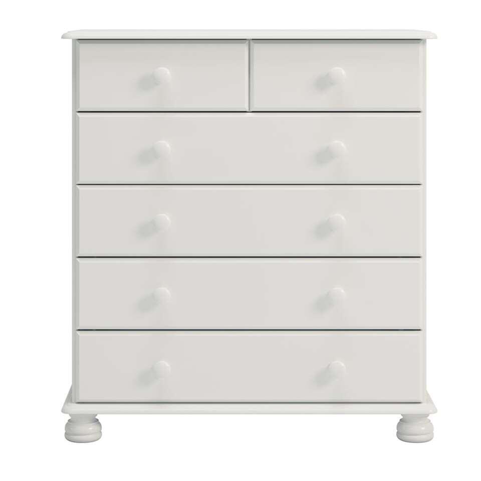 Commode Richmond 6 tiroirs - blanc - 89,9x82,4x38,3 cm