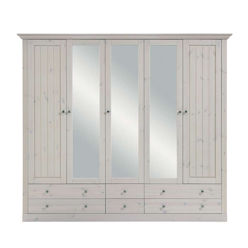 armoire linge monaco 5 portes blanc patin. Black Bedroom Furniture Sets. Home Design Ideas