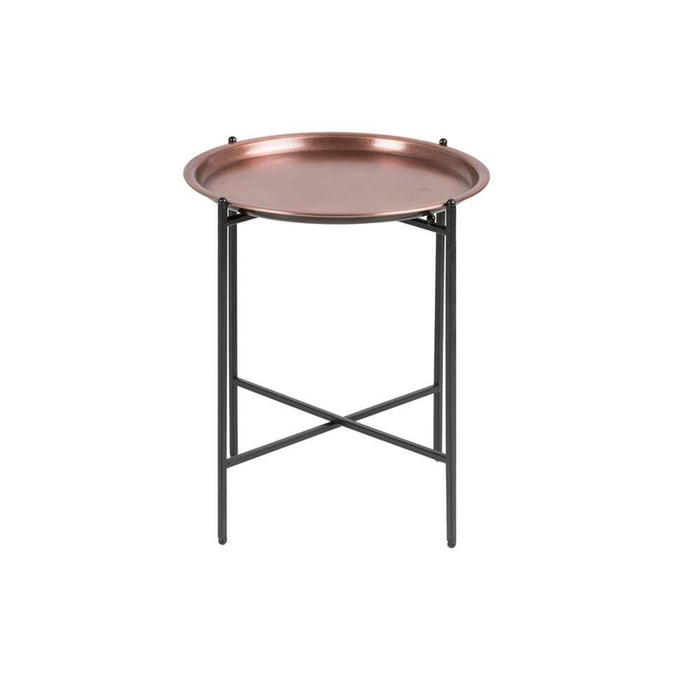 La table d'appoint Taby est une petite table remarquable avec un plateau rond cuivré. La structure est en métal noir. Placez cette table à côté du canapé ou de votre fauteuil préféré !