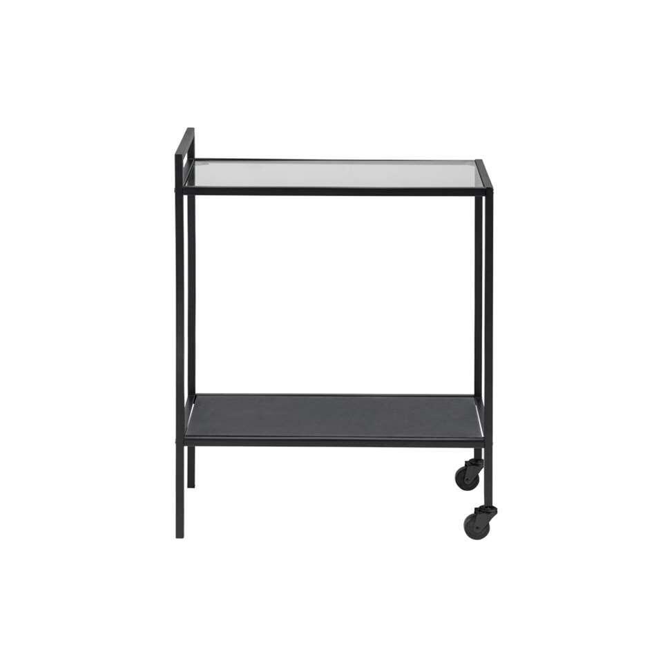 La table d'appoint Jelling est une table à roulette pratique. Cette table d'appoint a un plateau en verre et une structure en métal.
