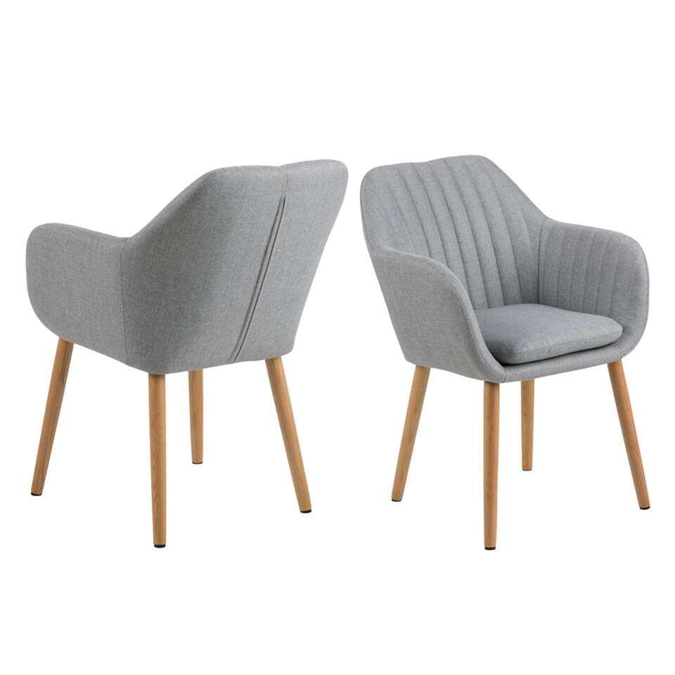 Chaise de salle à manger Meda - tissu - gris clair (une pièce)