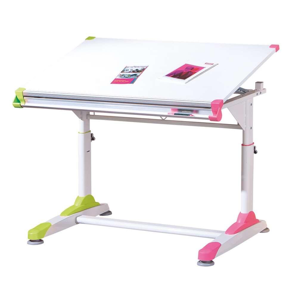 Le bureau Tumba est un bureau pour enfants à hauteur réglable. Ce bureau est facile à régler et sûr pour les enfants. La tablette est blanche et le bureau a des détails roses et verts.