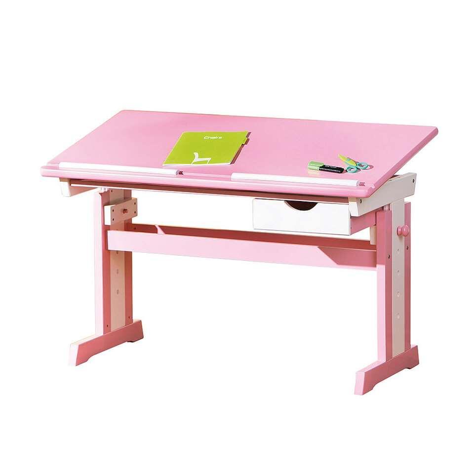 Le bureau Cecilia est un bureau réglable pour des enfants. Ce bureau en couleur rose est fait de MDF. Le bureau est facile à régler en hauteur.