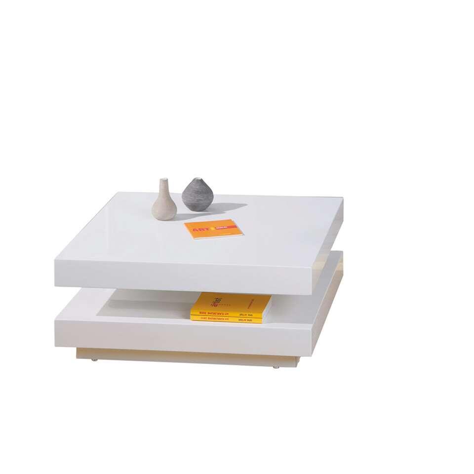 Salontafel Duomo is een praktische en moderne tafel met een robuuste look. De tafel is vierkant en het bovenblad is draaibaar. Dat is handig! Deze hoogglans witte tafel voelt zich thuis in moderne interieurs.