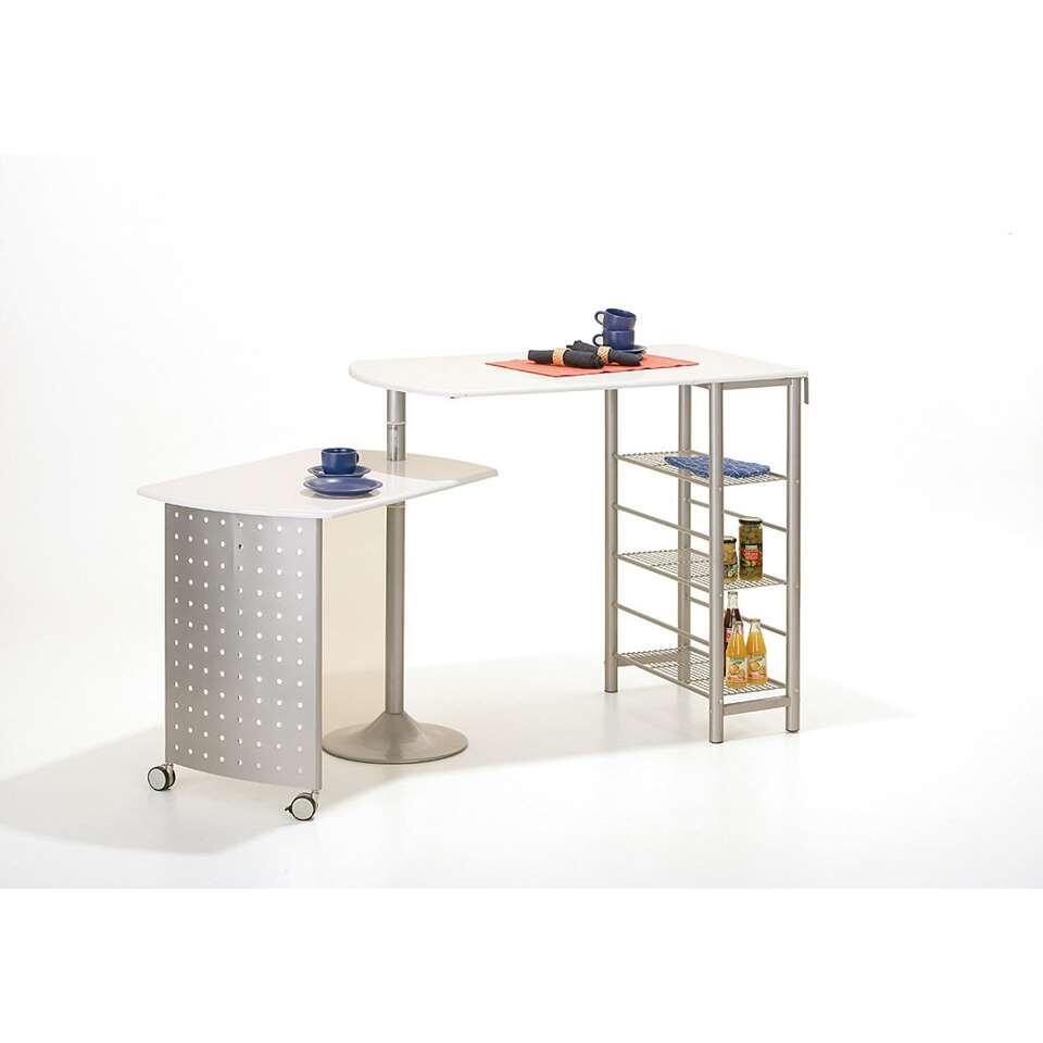 Keukenbar Filamento is een praktisch en veelzijdig meubel. De keukenbar heeft metalen plankjes. De keukenbar heeft de ideale hoogte voor een snelle kop koffie of een ontbijtje.