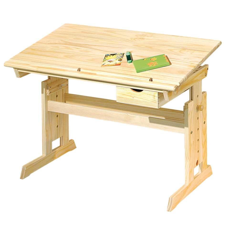 Bureau Julia is gemaakt van massief vernist grenenhout en bedoeld voor kinderen. Het blad is kantelbaar en het bureau biedt diverse opbergmogelijkheden.