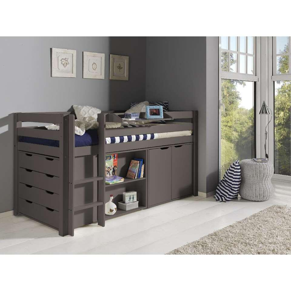 vipack lit sur lev pino avec bureau commode rangement et tablette taupe. Black Bedroom Furniture Sets. Home Design Ideas