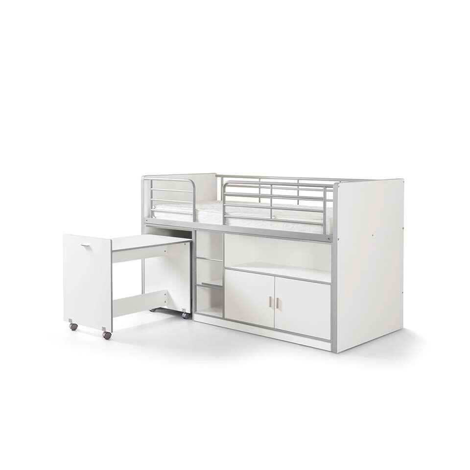 vipack lit sur lev bonny avec bureau tag res et rangement blanc. Black Bedroom Furniture Sets. Home Design Ideas