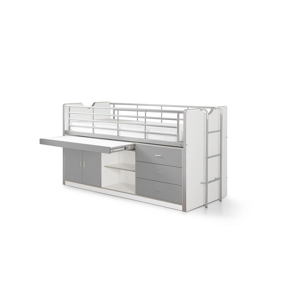 vipack lit sur lev bonny avec bureau escamotable armoire avec portes tag res et 3 tiroirs. Black Bedroom Furniture Sets. Home Design Ideas
