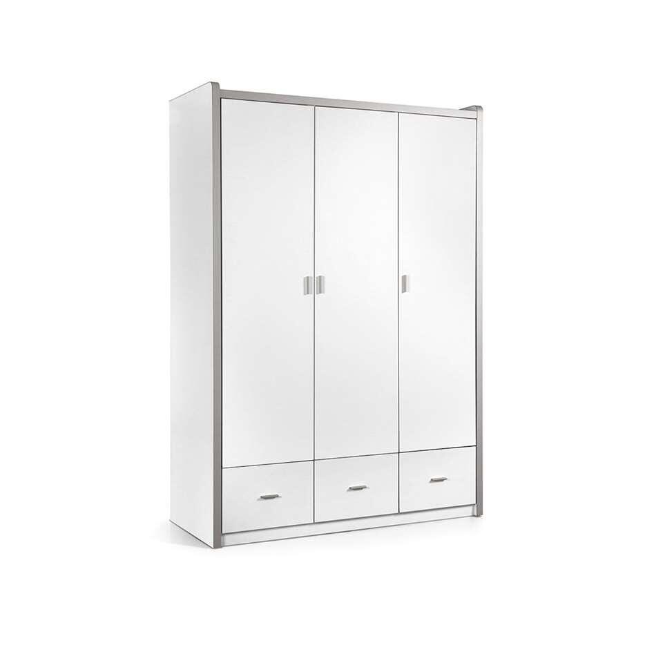vipack armoire linge bonny 3 portes blanche. Black Bedroom Furniture Sets. Home Design Ideas