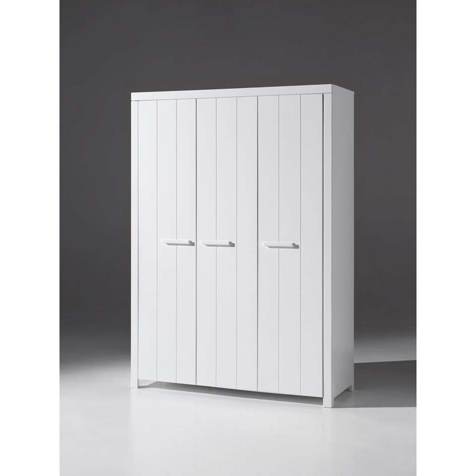 vipack armoire linge erik 3 portes blanche. Black Bedroom Furniture Sets. Home Design Ideas