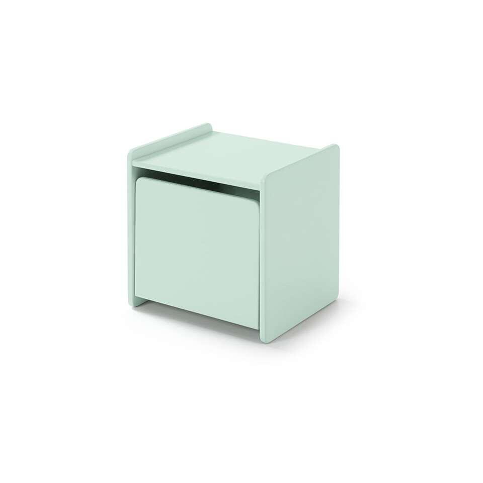 Vipack table de nuit vert menthe Kiddy contient une porte. Le rangement de la collection Kiddy est faite d'une combinaison de MDF et pin massif.
