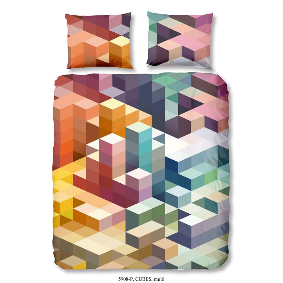 Good Morning parure de couette Cubes - multicolore - 200x200/220 cm