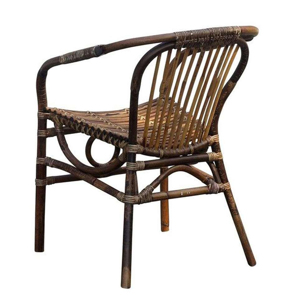 Chaise de salle à manger Kim avec bras - rotin - brune