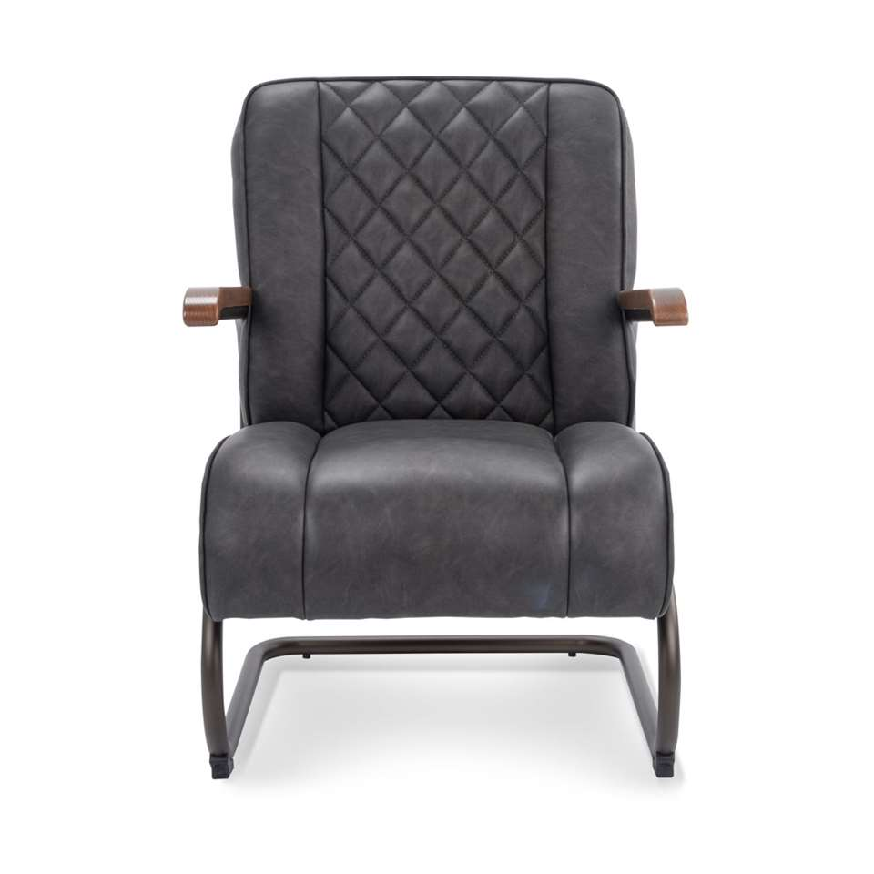 Le fauteuil Lennox est en simili cuir vintage robuste de couleur anthracite. Le fauteuil a un look rétro vintage et est super confortable.