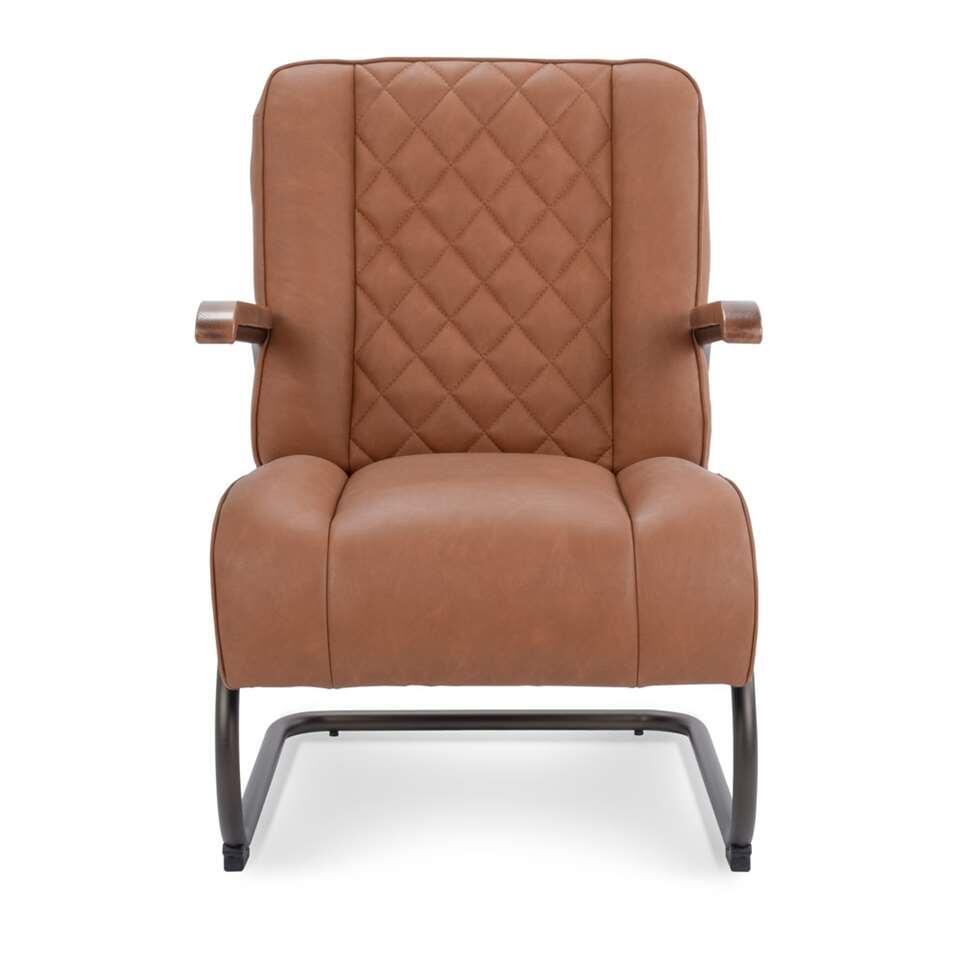 Le fauteuil Lennox est en simili cuir vintage robuste de couleur cognac. Le fauteuil a un look rétro vintage et est super confortable.