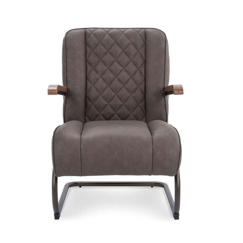 Le fauteuil Lennox est en simili cuir vintage robuste de couleur taupe. Le fauteuil a un look rétro vintage et est super confortable.