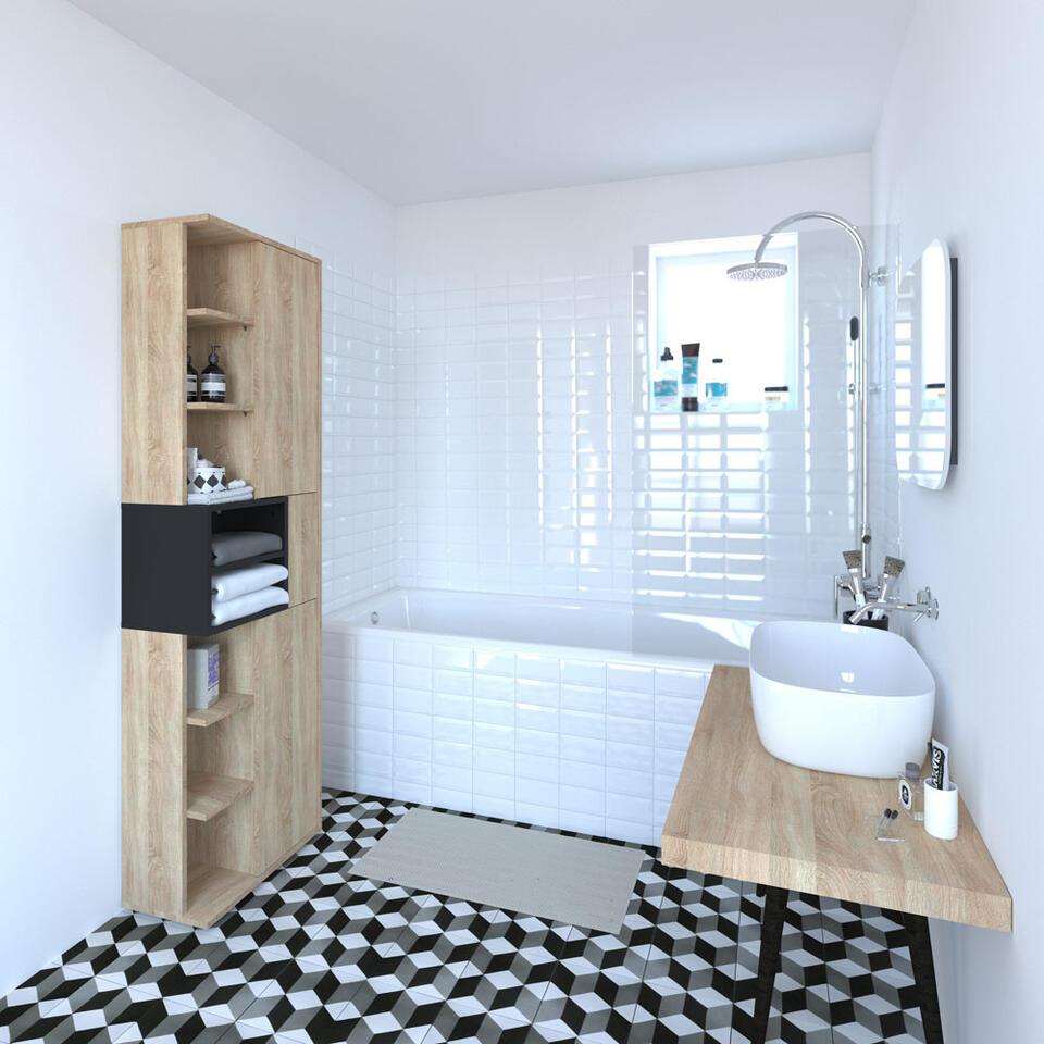 symbiosis colonne de salle de bain kube ch ne naturel noir 182 2x50x28 cm. Black Bedroom Furniture Sets. Home Design Ideas